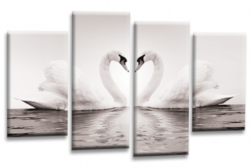 Love Swans Canvas Wall Art Picture Kissing Heart Grey White Print